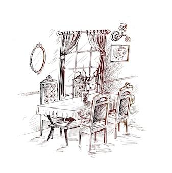 Interiore della sala da pranzo illustrazione vettoriale di concetto di schizzo disegnato a mano