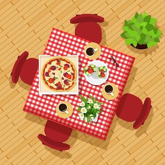 Tavolo da pranzo vista dall'alto. elegante set grafico con tavolo, sedie, tazze, piatti e fiori. bellissimo tavolo da cucina. illustrazione.