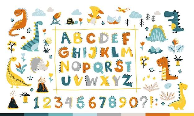 Collezione dino con alfabeto e numeri. carattere comico divertente in stile cartone animato semplice disegnato a mano.