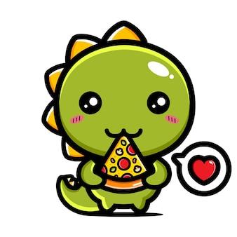 A dino piace mangiare la pizza