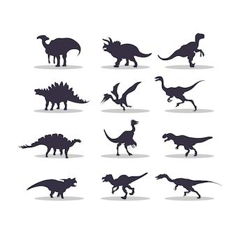 Disegno dell'illustrazione di vettore della siluetta di dino