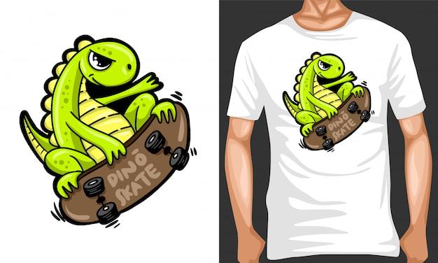 Dino skate cartoon illustrazione e merchandising design