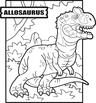 Illustrazione di allosauro dinosauro da colorare