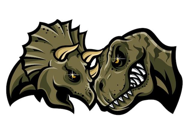 Dinosauro battaglia testa logo vettoriale