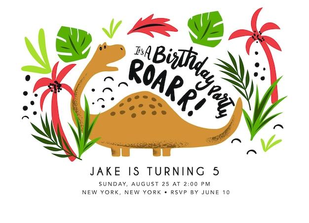 Modello di biglietto di compleanno di dinosauro invito alla festa di compleanno con dinosauri