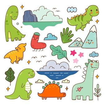 Dinosauro cartone animato kawaii doodle set