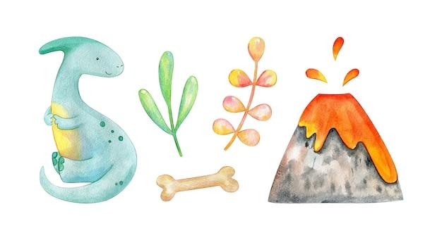 Collezione di dinosauri con vulcano e piante dipinte a mano in acquerello