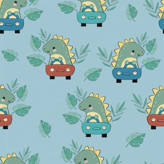 Dinosauro carino cavalca auto infantile illustrazione bambini stampa per il vettore senza cuciture tessile