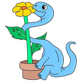 Dinosauro che mangia il girasole all'estremità del vaso, arte dell'illustrazione di vettore. scarabocchiare icona immagine kawaii.
