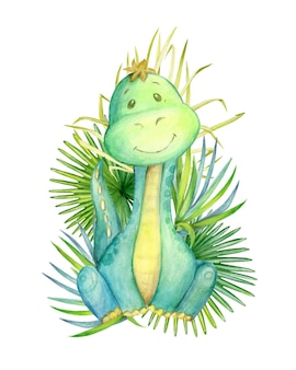 Un dinosauro, di colore verde, seduto, su uno sfondo, di foglie tropicali. acquerello, animale, stile cartone animato, su uno sfondo isolato, per l'arredamento dei bambini.