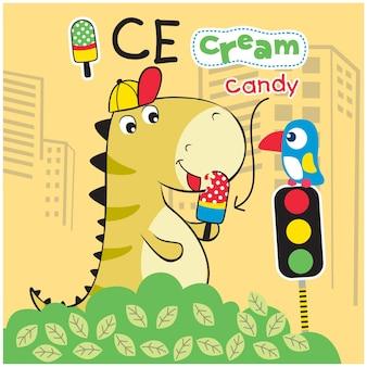 Dinosauro e gelato divertente cartone animato animale
