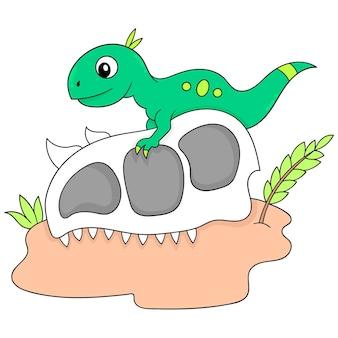 Il dinosauro sta cavalcando sulla testa di una bestia gigante del cranio. scarabocchio icona kawaii.