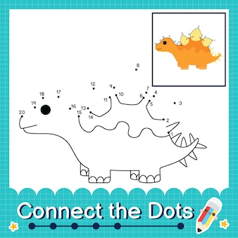 Dinosaur kids collega il foglio di lavoro dei punti per i bambini che contano i numeri da 1 a 20 il kentrosaurus