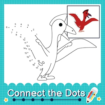 Dinosaur kids collega il foglio di lavoro dei punti per i bambini che contano i numeri da 1 a 20 il quetzalcoatlus