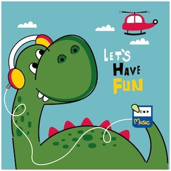 Dinosauro che ascolta musica divertente cartone animato animale