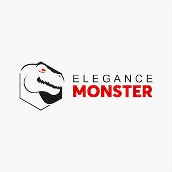 Logo di dinosauro tirannosauro esagonale semplice