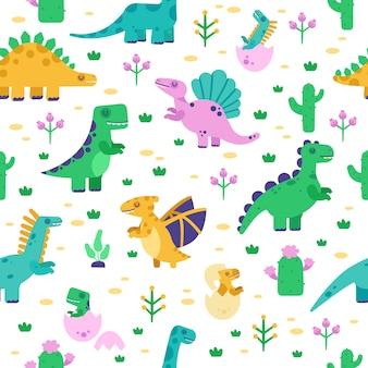 Modello di dinosauro. modello sveglio di scarabocchio di dino, tirannosauro disegnato a mano dei dinosauri, fondo del pterodattilo, illustrazione senza cuciture del parco giurassico. sfondo seamless con animali preistorici