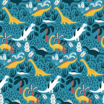 Modello di dinosauro per tessuto per bambini o carta da parati per bambini. sfondo blu dettagliato con giungla, palme e foglie tropicali. dinos bianchi e verdi su piastrelle vettoriali ripetute.