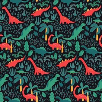 Modello di dinosauro per tessuto per bambini o carta da parati per bambini, palme della giungla e foglie tropicali