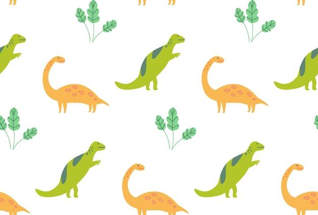 Reticolo del dinosauro, dinosauri verdi e gialli di struttura senza cuciture su bianco. carta da parati per camera dei bambini, disegno vettoriale tessile