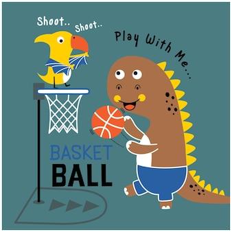 Dinosauro gioca a basket animale divertente cartone animato