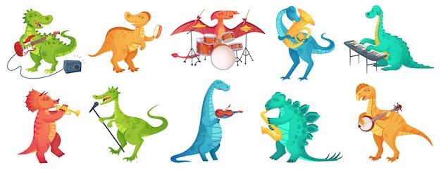 Dinosauro suona musica. tyrannosaurus rockstar suonare la chitarra, dino batterista e dinosauri dei cartoni animati musicisti illustrazione set.