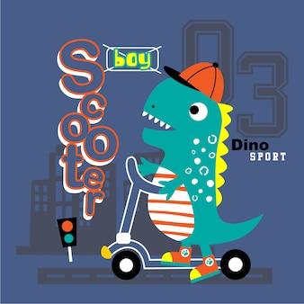 Dinosauro che gioca a scooter