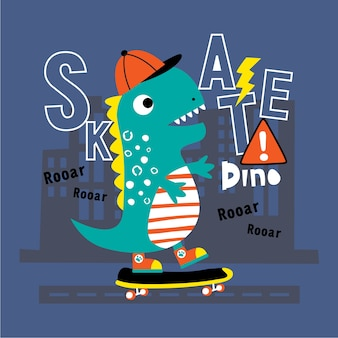 Dinosauro che gioca a skateboard
