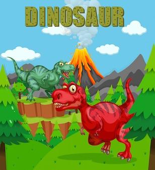 Manifesto del dinosauro con due t-rex nel campo