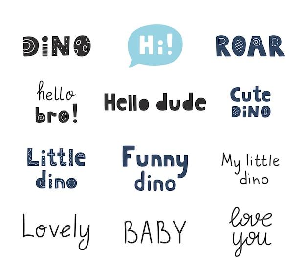 Raccolta di citazioni di dinosauri. insieme dell'iscrizione disegnato a mano di vettore. frasi carine per il design dei bambini.
