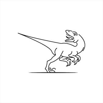 Dinosauro raptor antico animale preistorico bestia vettoriale rettile mostro illustrazione grafica linea a