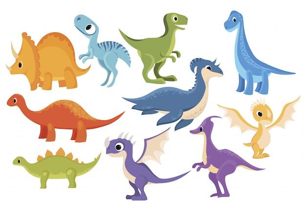 Set di dinosauri collezione di dinosauri dei cartoni animati. illustrazione di animali preistorici per bambini.