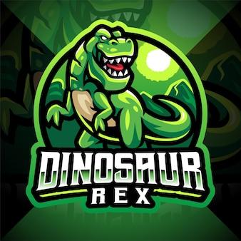 Disegno del logo della mascotte sportiva dei dinosauri