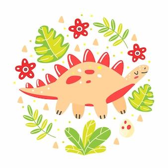 Dinosauro stegosauro con foglie in uno stile simpatico cartone animato a forma di cerchio