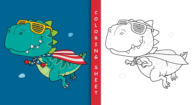 Fumetto del supereroe del dinosauro