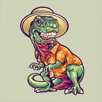 Dinosauro t-rex nell'illustrazione del carattere di vacanza estiva