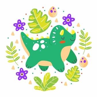 Triceratopo di dinosauro con foglie in uno stile simpatico cartone animato a forma di cerchio