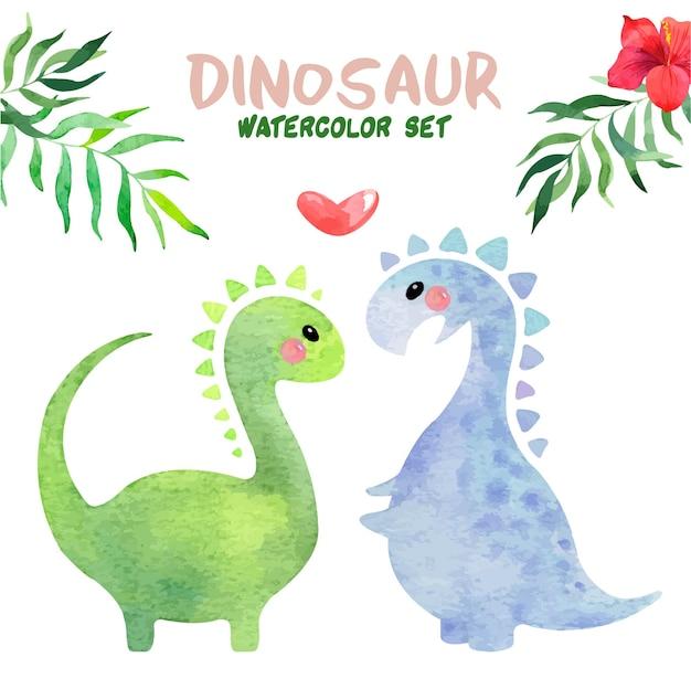 Set acquerello dinosauro