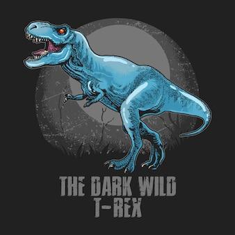 Vettore di testa di t-rex selvaggio dinosauro