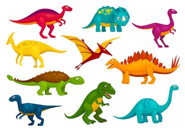 Collezione di cartoni animati di dinosauri. simpatici personaggi giocattolo t-rex, tirannosauro, pterosauro, pterodattilo. animali di vettore