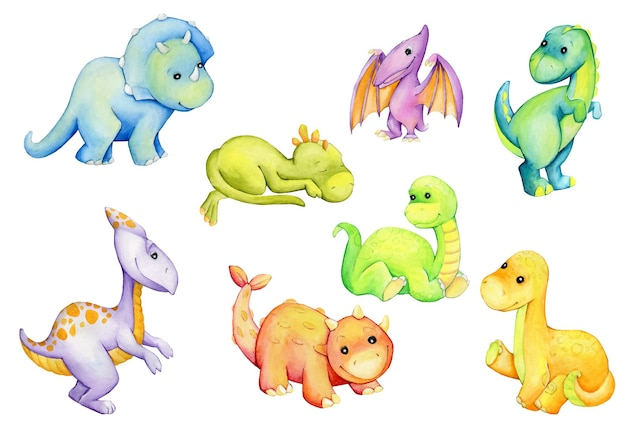 Dinosauri, colori diversi, sfondo isolato, stile cartone animato, set acquerello, animali preistorici.