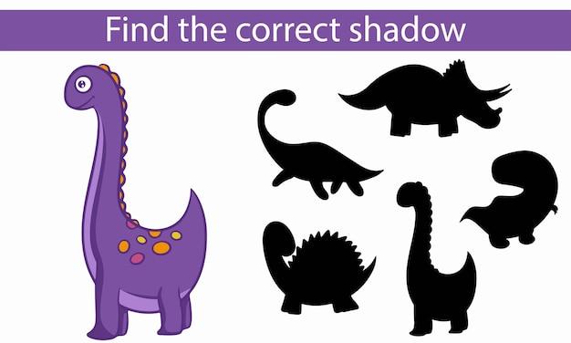 Dinosauri. trova l'ombra corretta. gioco educativo per bambini. illustrazione vettoriale, stile cartone animato.