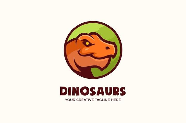 Modello di logo della mascotte dei cartoni animati con testa di dinosauri