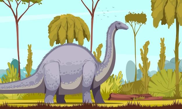 Illustrazione orizzontale dei dinosauri con l'immagine del fumetto diplodocus come dinosauro erbivoro più lungo e più grande