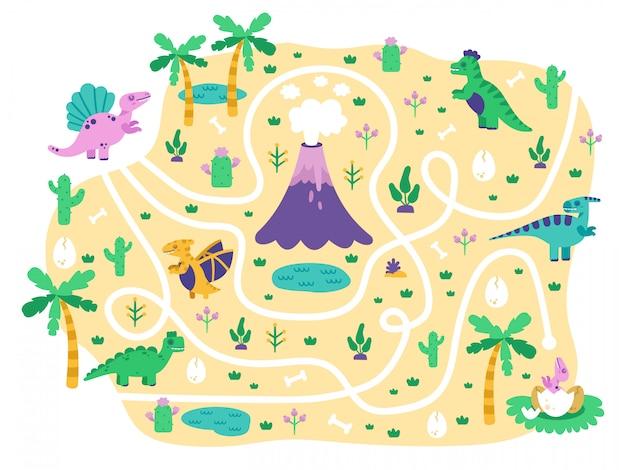 Labirinto di dinosauri per bambini. la mamma di dino trova il gioco per bambini delle uova, gioco educativo di puzzle del labirinto del parco giurassico di dino di scarabocchio sveglio, illustrazione. dinosauro nel labirinto e percorso del labirinto per il gioco