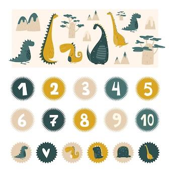 Dinosauri per la cameretta dei bambini con numeri di compleanno