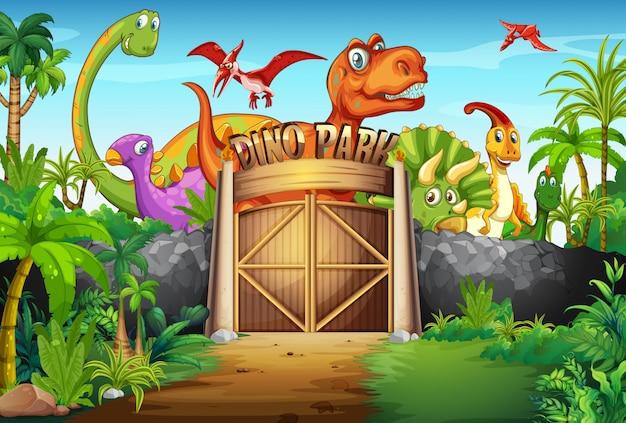 Dinosauri che vivono nel parco
