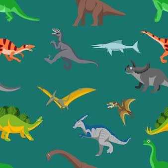 Illustrazione di vettore del fondo del modello senza cuciture dei dinosauri