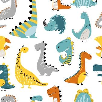 Modello senza cuciture di dinosauri su sfondo bianco. illustrazione dei bambini in un divertente cartone animato