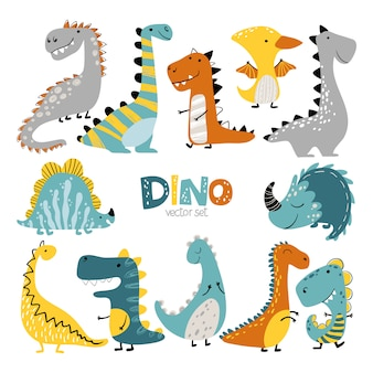 Dinosauri ambientati in stile scandinavo dei cartoni animati. l'illustrazione variopinta del bambino sveglio è ideale per la stanza dei bambini